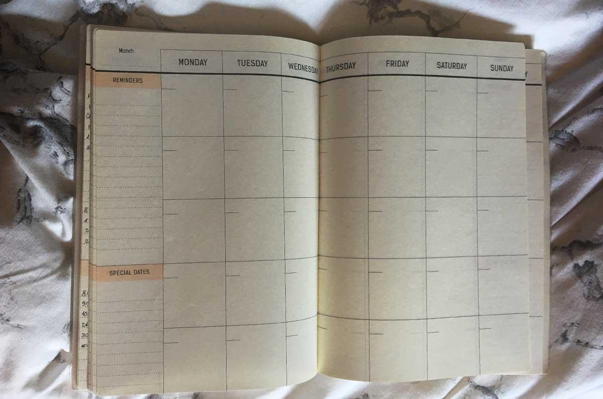 Planner mensile per aumentare la produttività