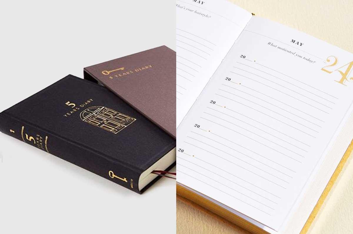 tra le agende per lo sviluppo personale: 5 years diary per tenere un ricordo della propria vita