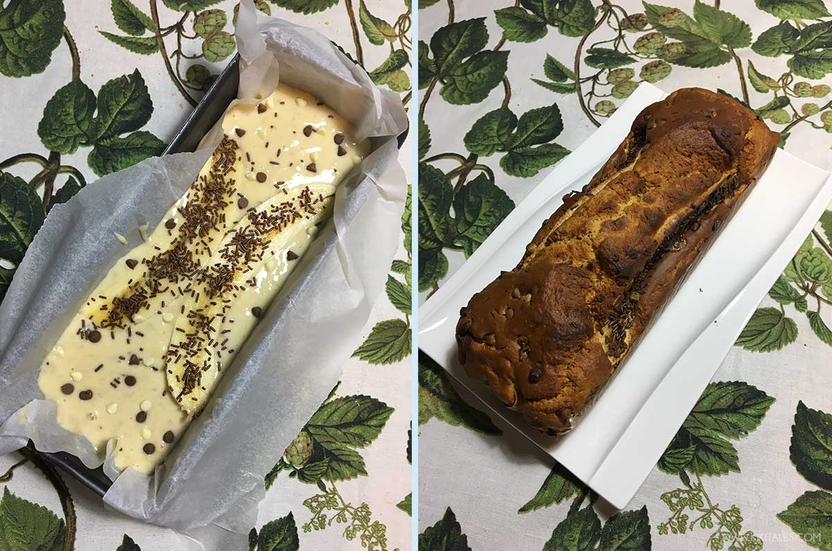Banana bread fit light con gocce di cioccolato