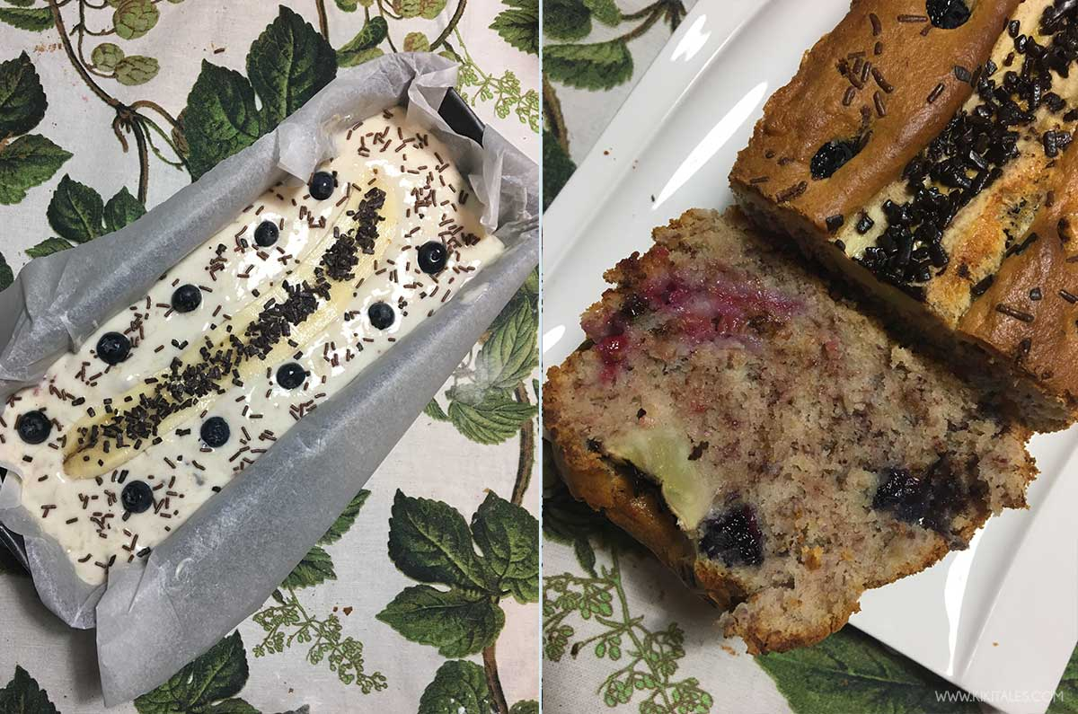 banana bread fit light con frutti di bosco tagliato