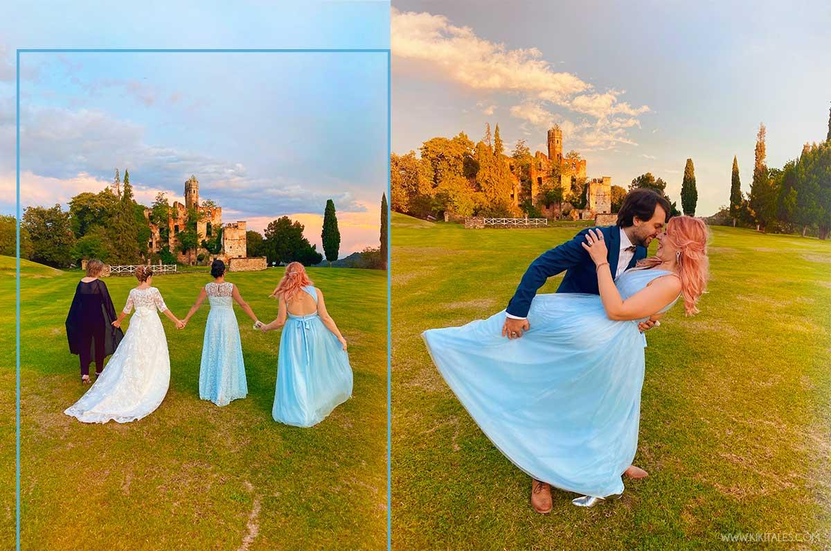 Abito lungo azzurro da principessa per una cerimonia serale elegante